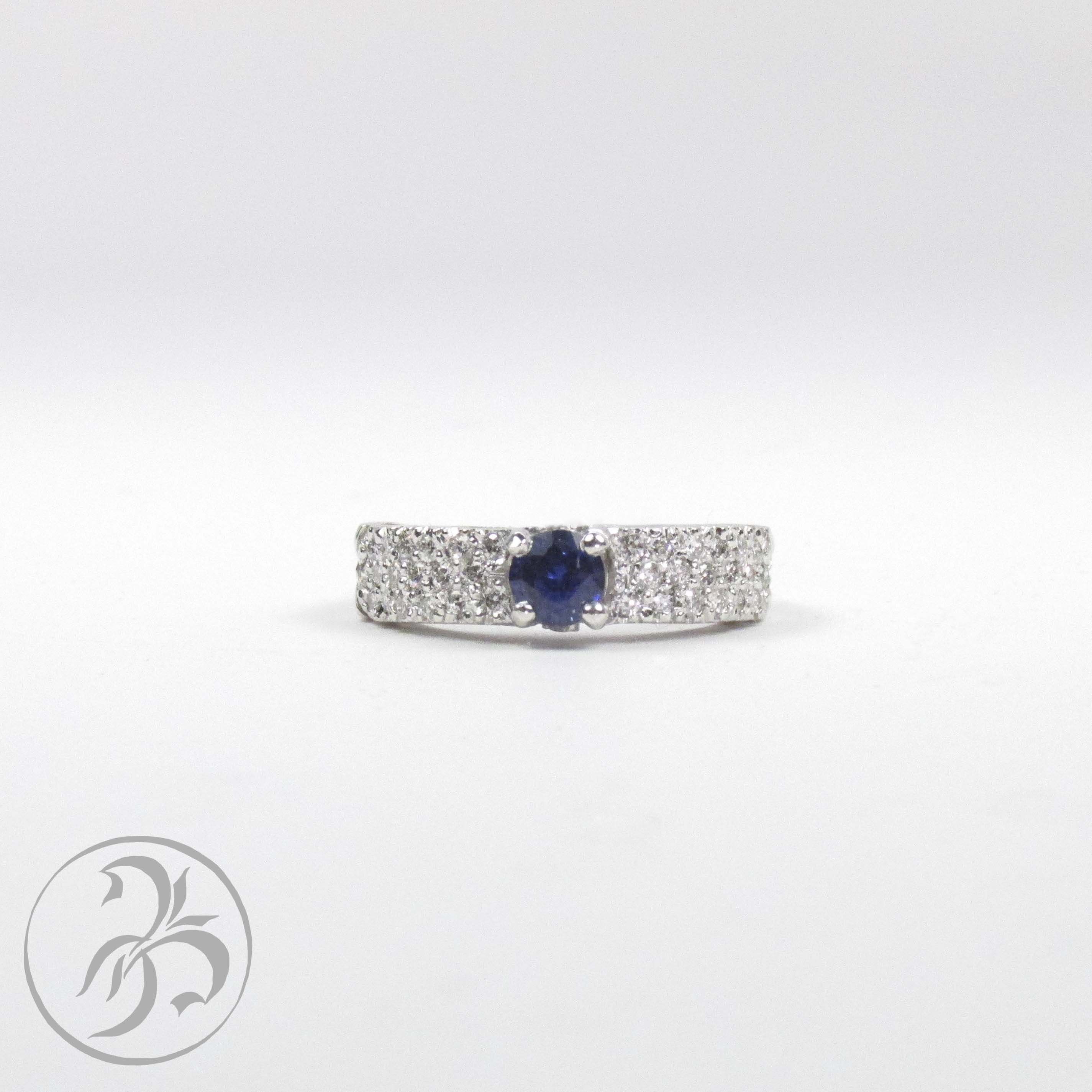 Sapphire and diamond pave ring.  Small, and great for everyday wear, this ring goes with everything! Custom created at Redford Jewelers in Salt Lake City