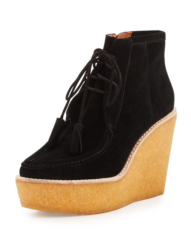 Sorelle Crepe-Wedge Wallabee Boot, Black