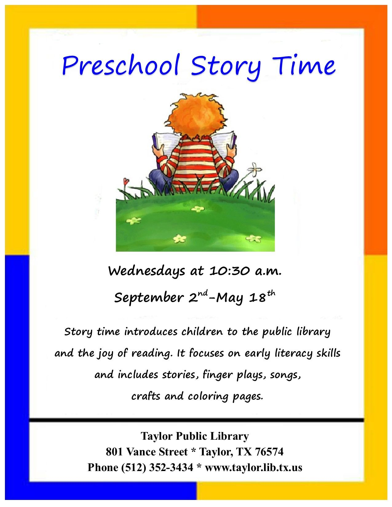 Calling All Preschool Aged Children Story Time Starts