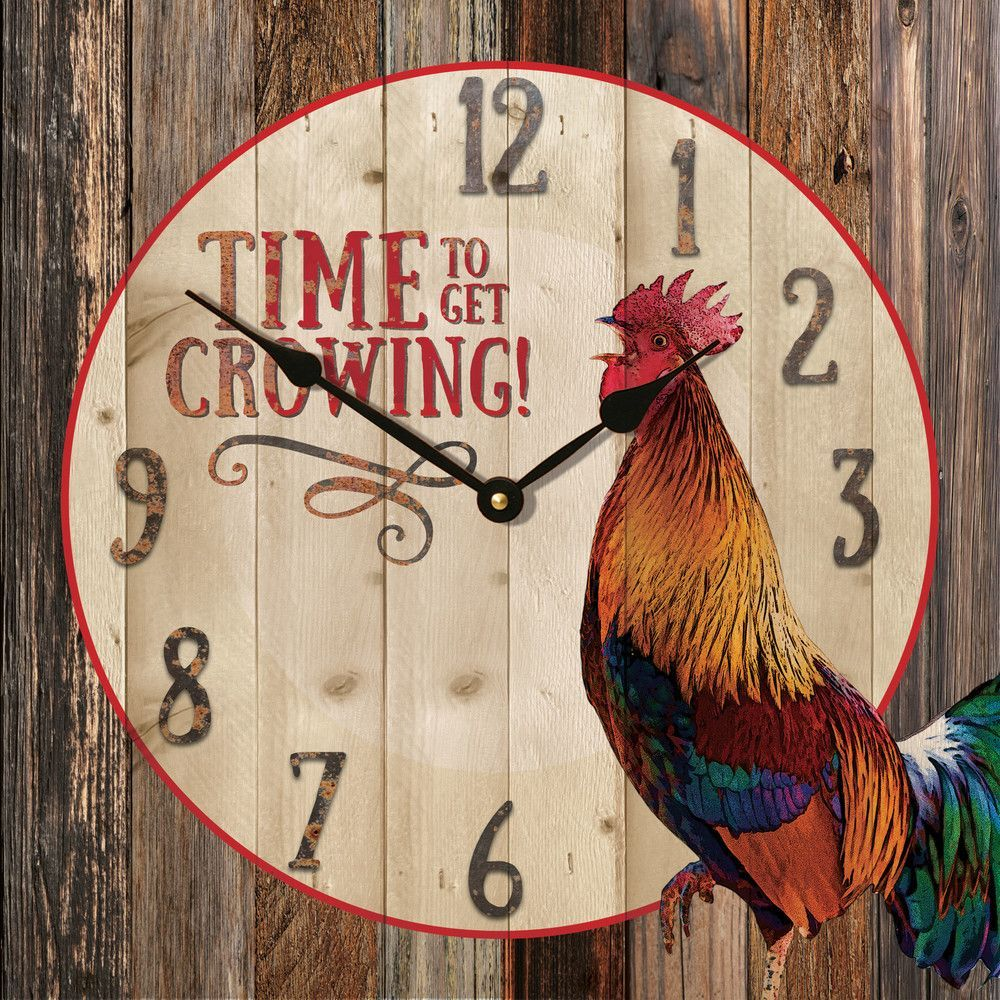 The Beautiful Rustic Rooster Wall Clock Is Handcrafted Here In The USA And  Made Of Wood