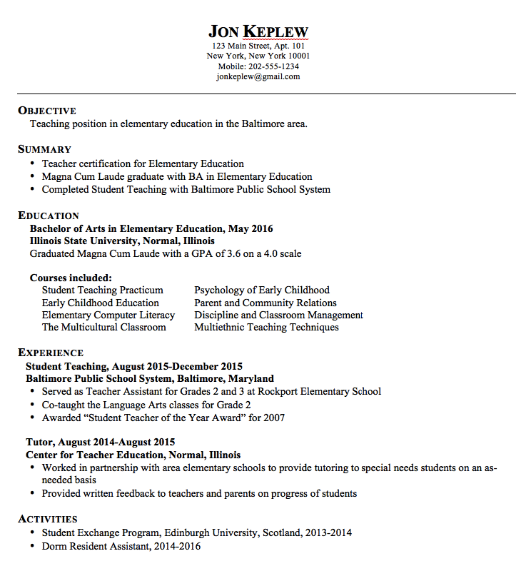 Sample Elementary Teacher Resume  HttpExampleresumecvOrg