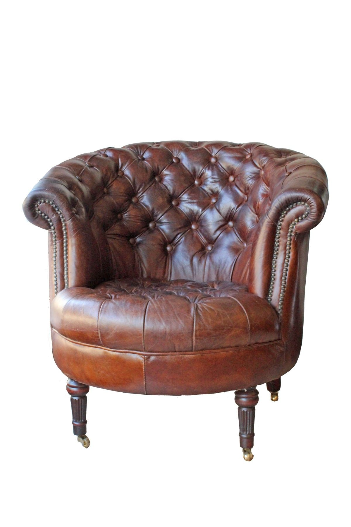leather barrel tufted chesterield brown leather chair on caster