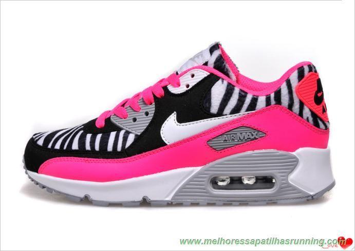 brand new 3bfa7 78b26 ... canada melhores sapatilhas running zebra rosa nike air max 90 mulheres  c7c76 0dad4