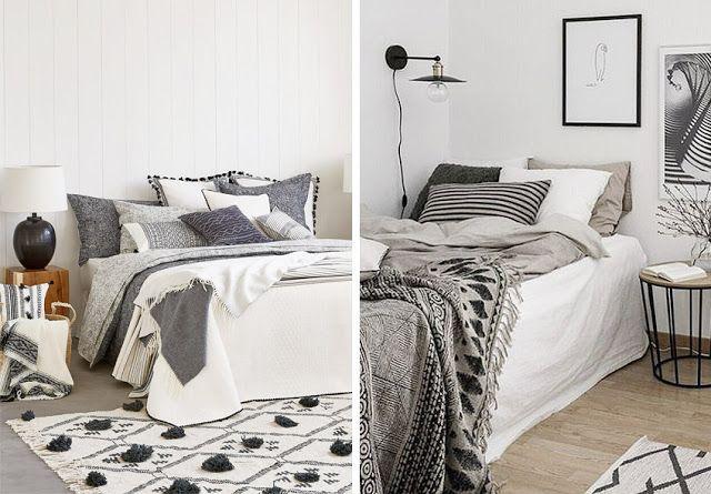 ropa de cama blanca y negra : via MIBLOG