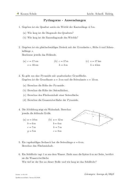 Pythagoras - Anwendungen | Aufgaben mit Lösungen und ...