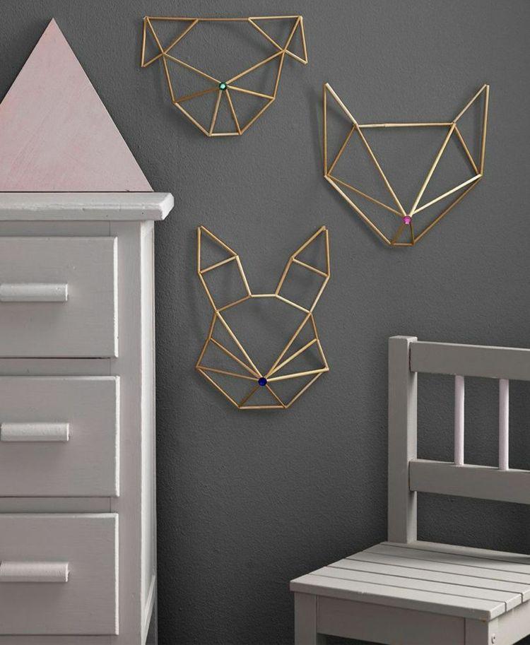 moderne wanddeko aus metall geometrische tiere von origami inspiriert modern nursery wall decor geometric kid room wanddekoration landhausstil boconcept