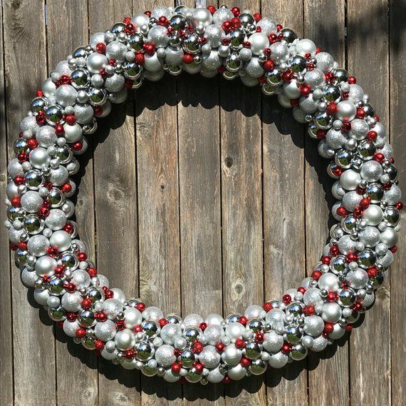 GIGANTIC 4 Foot Luxury Ornament Wreath, Bauble Wreath, Christmas Wreath, perfect for any business, silver and red ornaments, can customize!