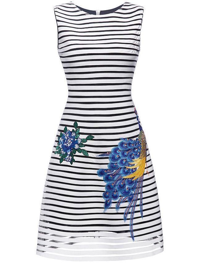 White Striped Embroidered A-Line Dress -SheIn(Sheinside)
