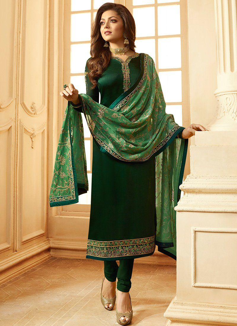 e29f511d90 Emerald Green Satin Georgette Straight Suit Churidar Suits, Patiala Suit, Salwar  Kameez, Punjabi