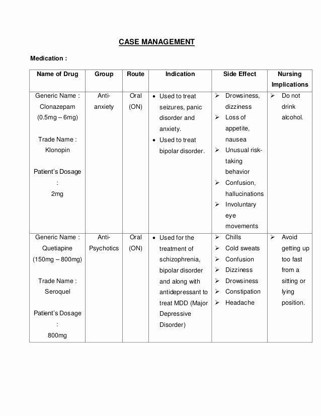 Nursing Patient Teaching Plan Sample Unique Bipolar ...