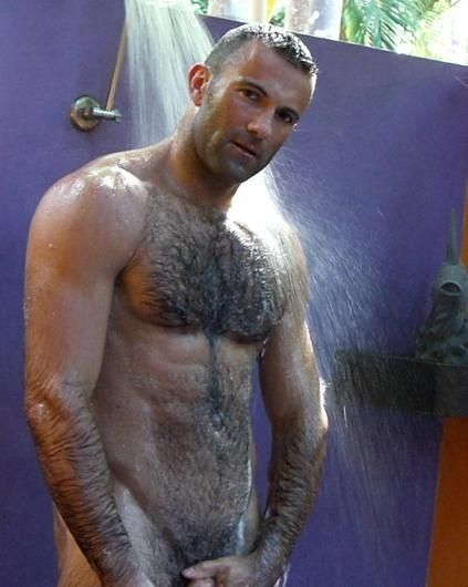 Hairy men shower
