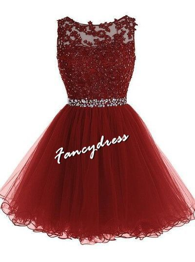 Burgundy Homecoming Dress,Lace Homecoming Dresses,