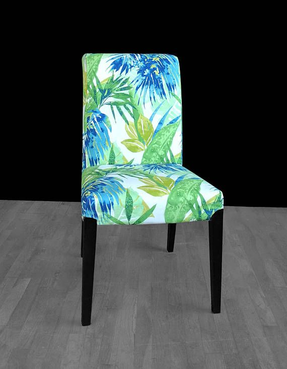chair covers for ikea henriksdal diy without sewing blue green leaf print dining cover bespoke