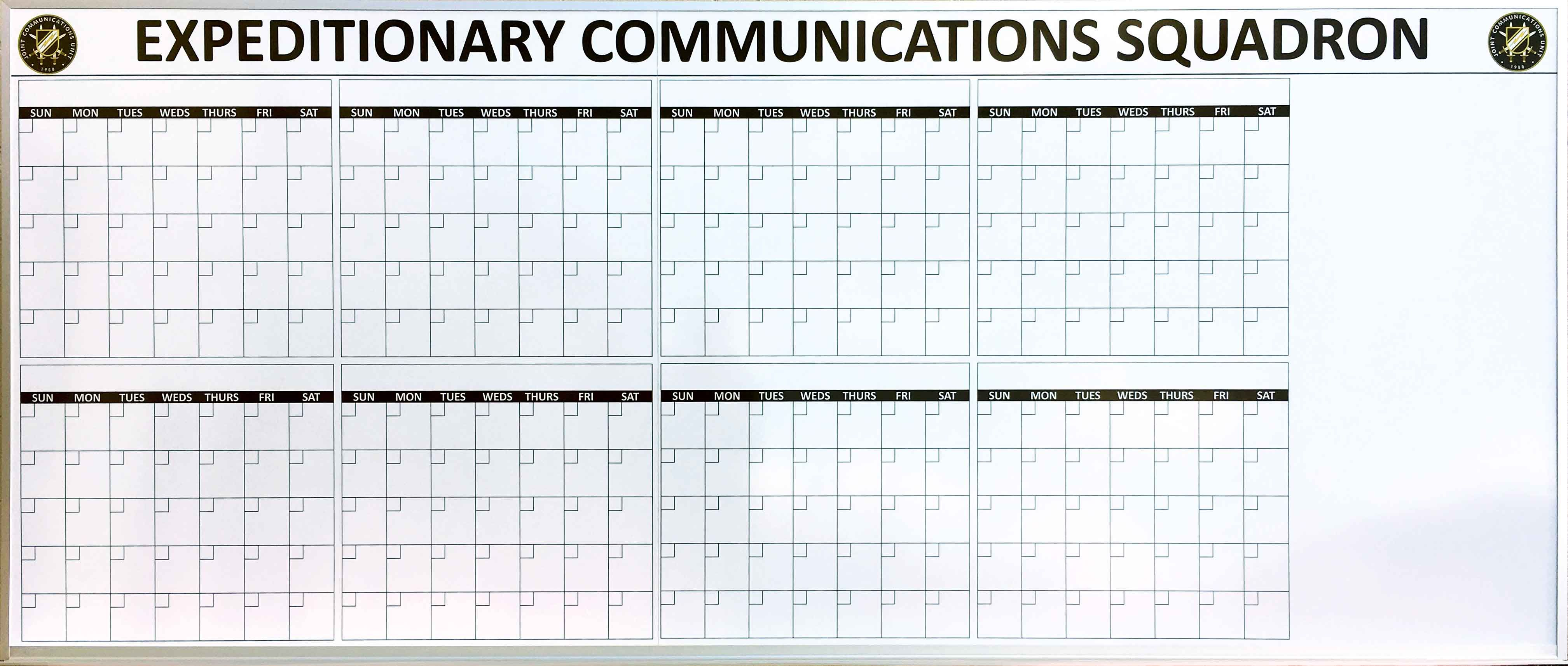 Military Government Whiteboards Magnetic Dry Erase Calendar