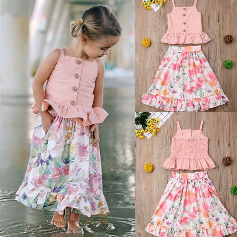 Kuriozud Toddler Baby Girl Ruffle Vest Halter Top Shorts with Bowknot 2 Piece Summer Outfits