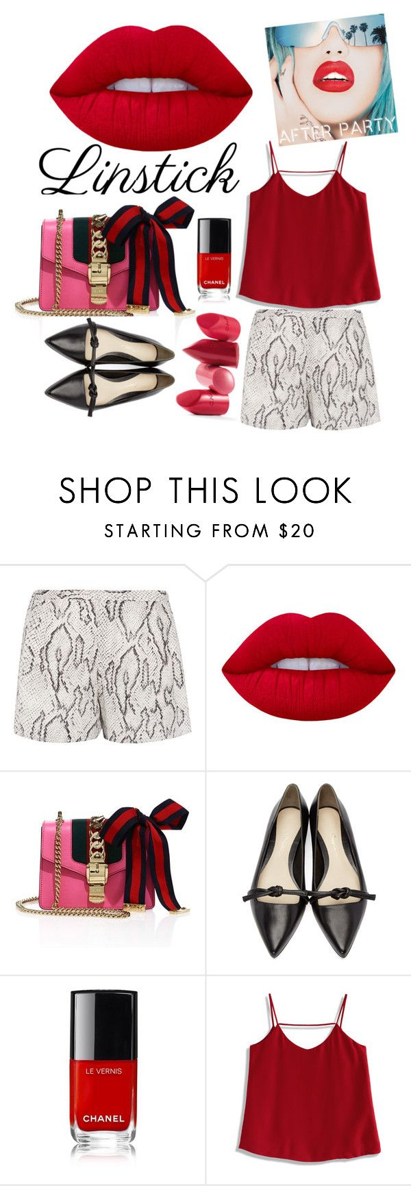"""#theredlips"" by mydesiredcloset ❤ liked on Polyvore featuring beauty, Haute Hippie, Lime Crime, Gucci, 3.1 Phillip Lim, Rupaul, Chicwish and Rossetto"