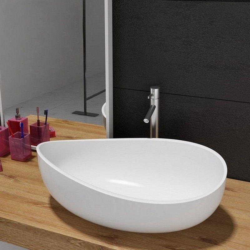 Bathroom Stone Resin Oval Vessel Sink Modern Art Sink Matte Glossy White With Pop Up Drain In 2020 Vessel Sink Sink Vessel Sink Vanity