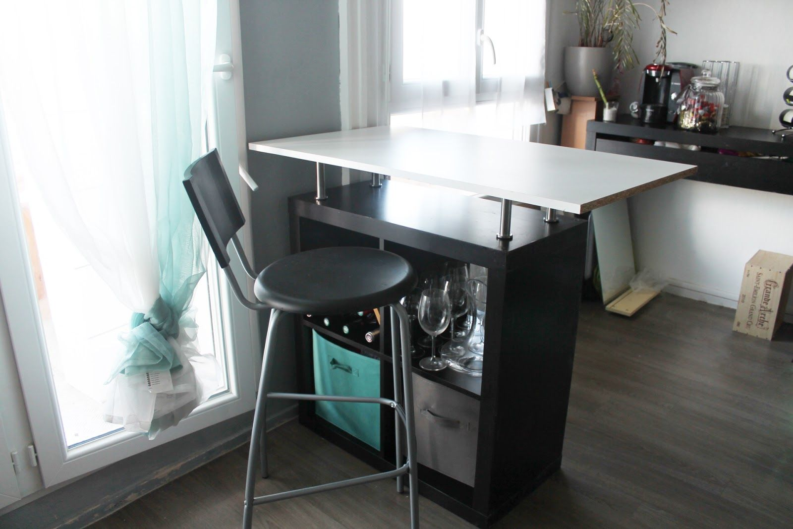 transformer un meuble ikea en bar bureau pinterest