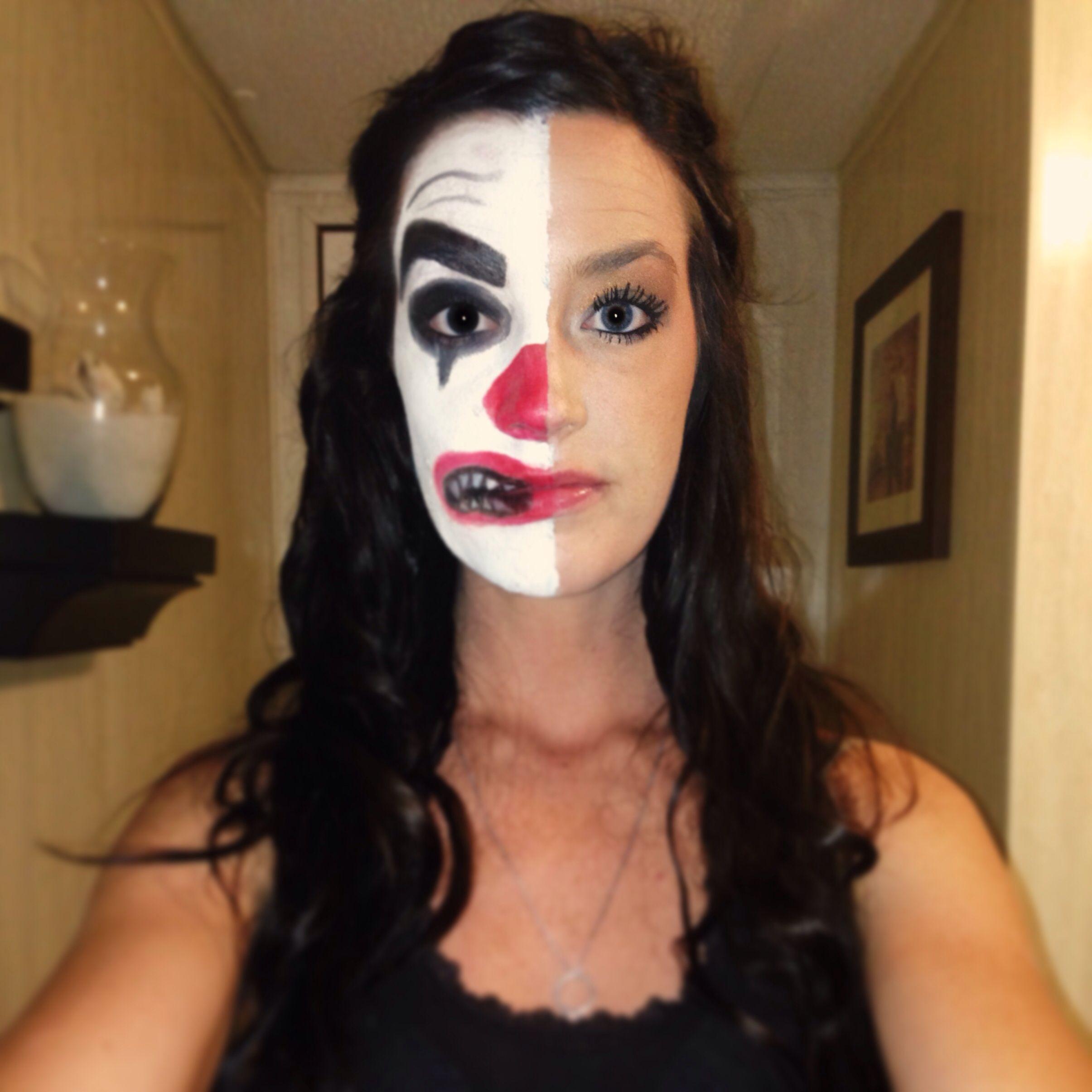 2 faced clown halloween makeup halloween pinterest