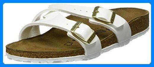 BIRKENSTOCK Classic Damen Yao Balance Birko-Flor Pantoletten, Weiß (Patent White Lack), 42 EU