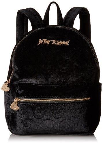 5b7a1cb7c6b Betsey Johnson Black Small Skull Backpack Style Handbag Purse, Blacks