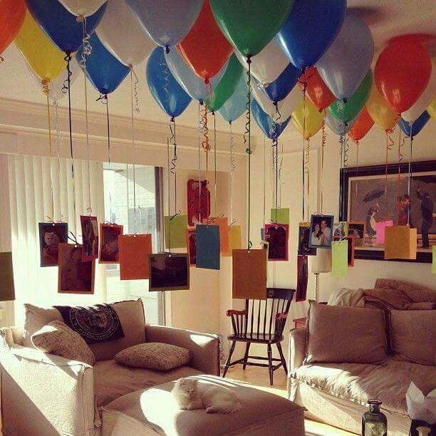 Globos pegados al techo con cinta adhesivas fiestas for Cuartos decorados feliz cumpleanos