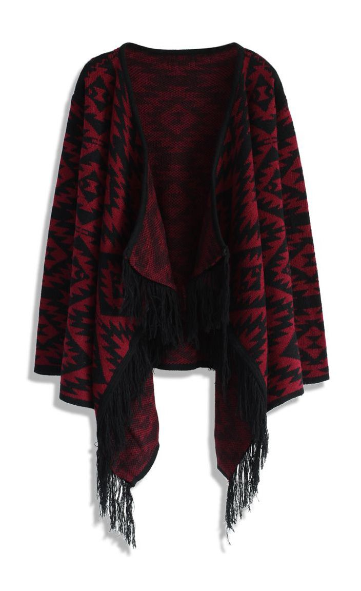 Aztec Fringed Knitted Cardigan in Wine