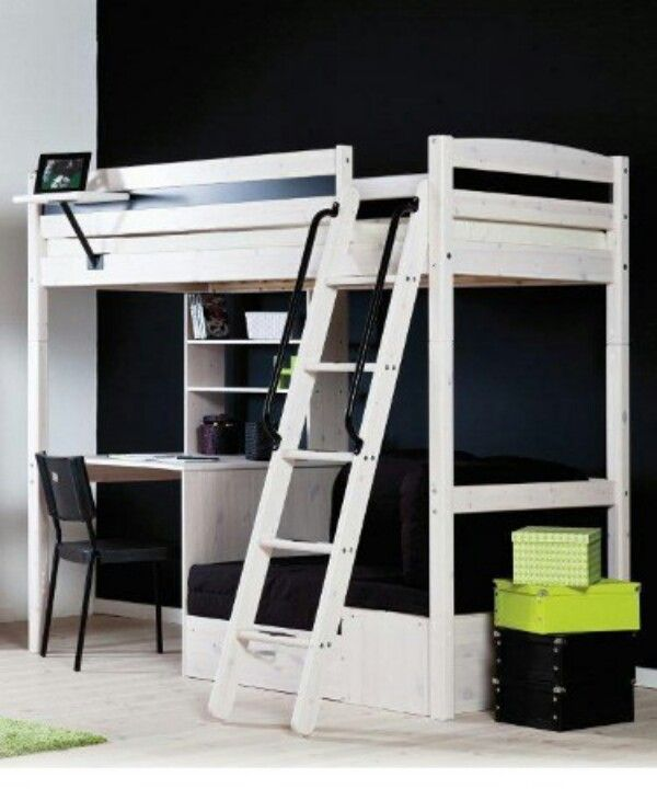 White Stora Loft Bed From Ikea Notice How Desk Is Arranged Under It