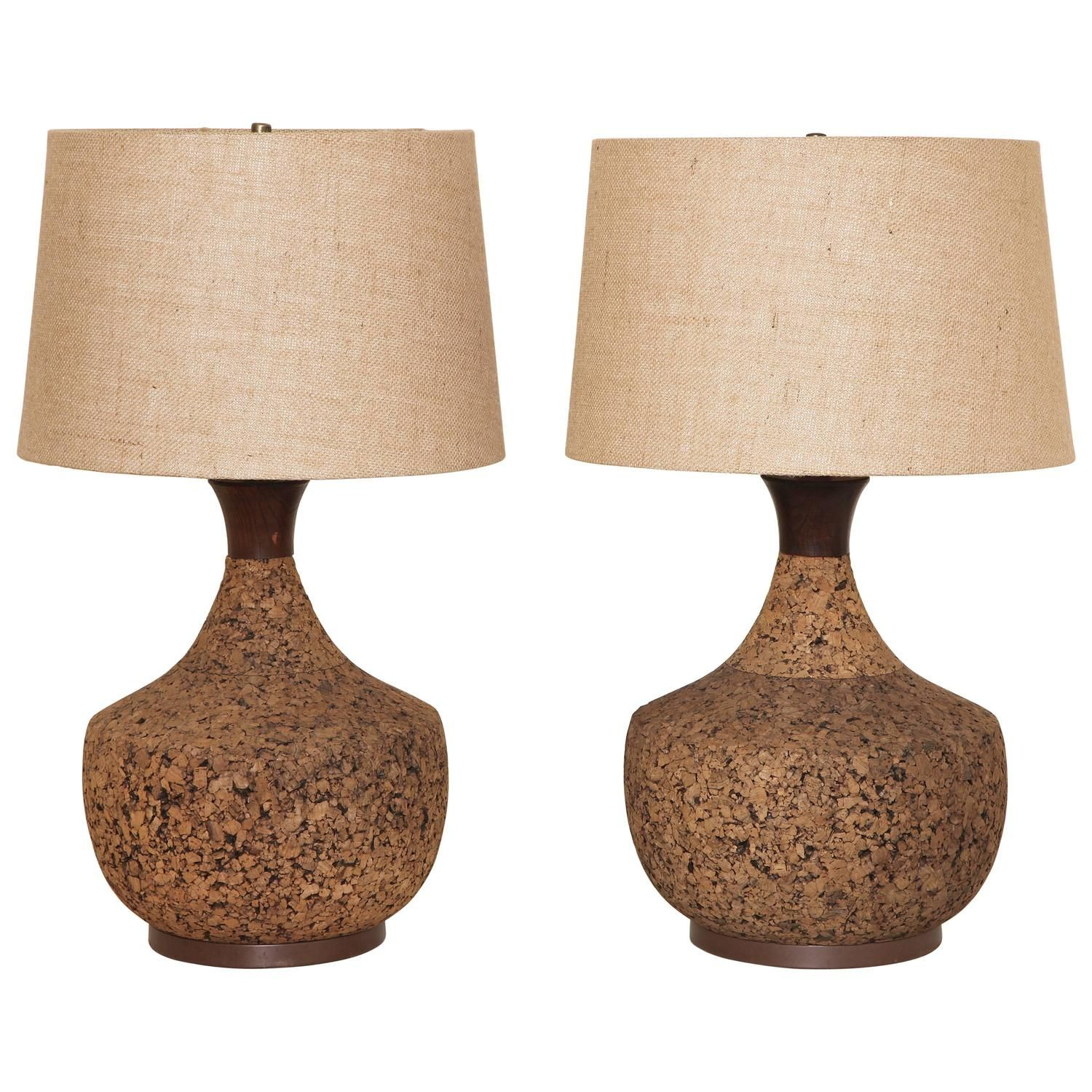 Pair Of Mid Century Modern Cork Lamps With Original Linen Shades