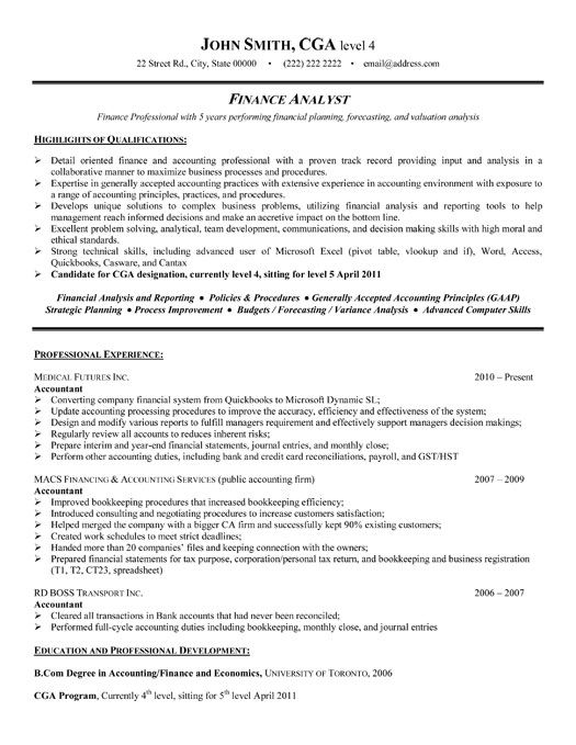 sample resume format for experienced finance professionals
