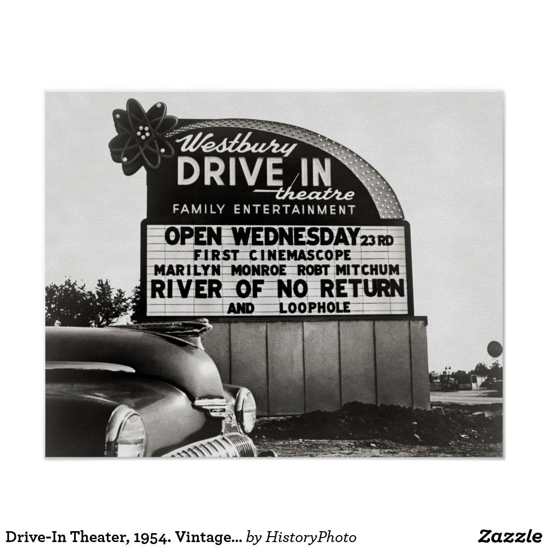Drivein theater 1954 vintage photo poster