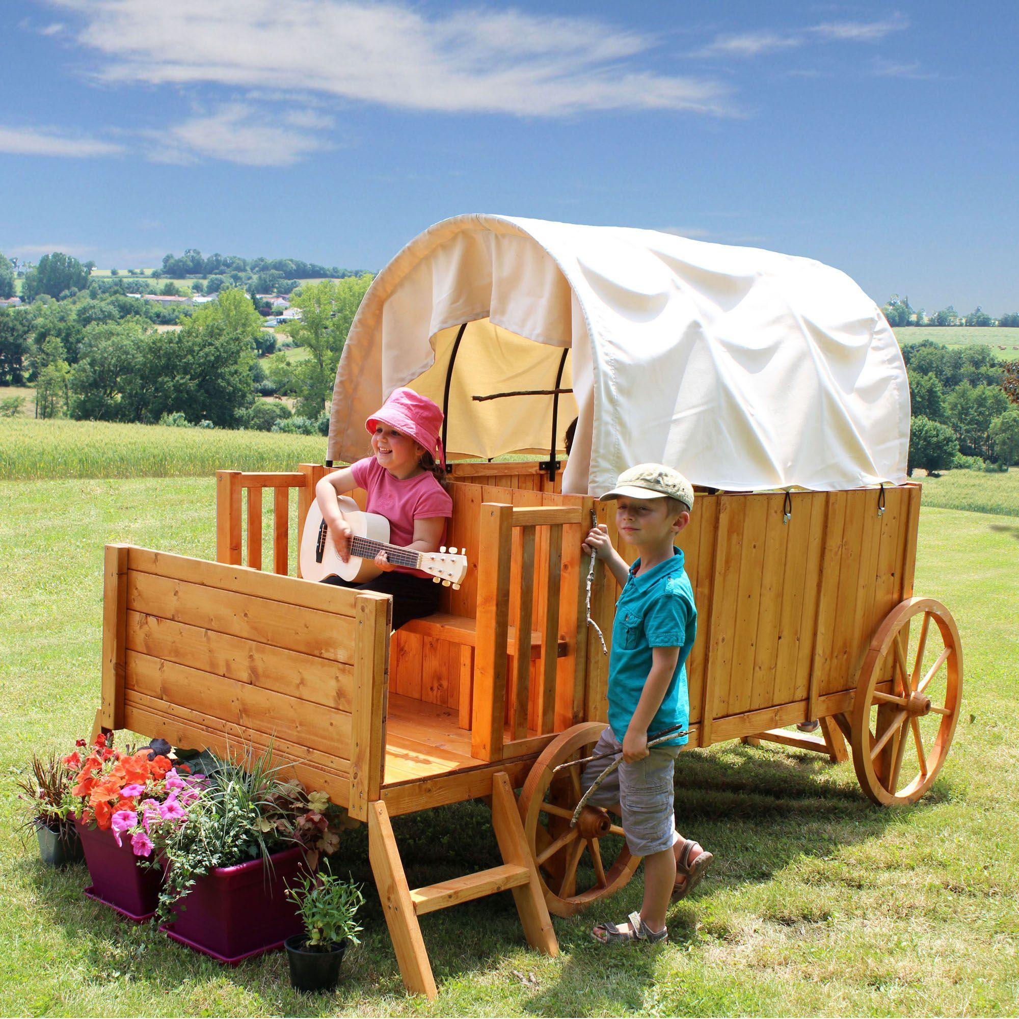 Roulotte en bois pour enfants style western naturel jessy le mobilier de jardin pour enfant - Meuble de jardin en bois ...