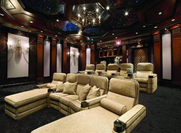 Here\'s a relaxing home theater. Look at the star ceiling... so ...