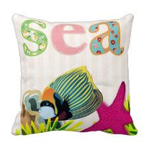 Sea for Girls Pink Throw Pillow