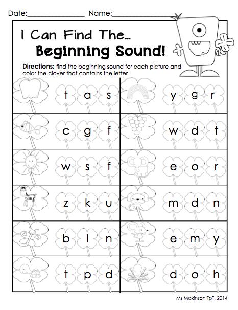 math worksheet : march printables  kindergarten literacy and math  literacy  : Kindergarten Beginning Sounds Worksheets
