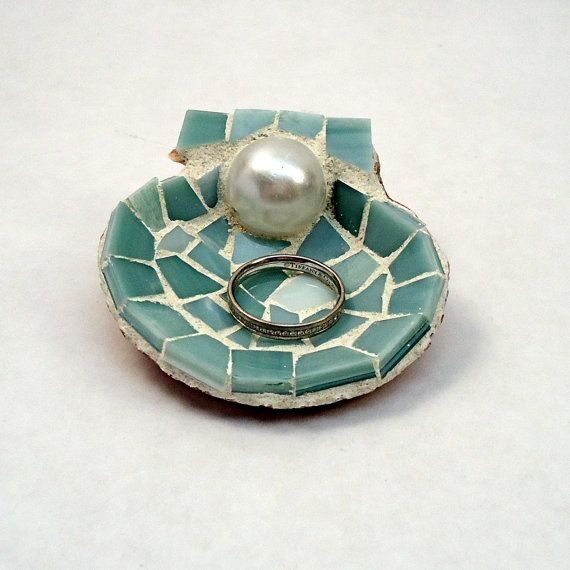 Mosaic Shell Wedding Ring Holder with Pearl by LiveInMosaics