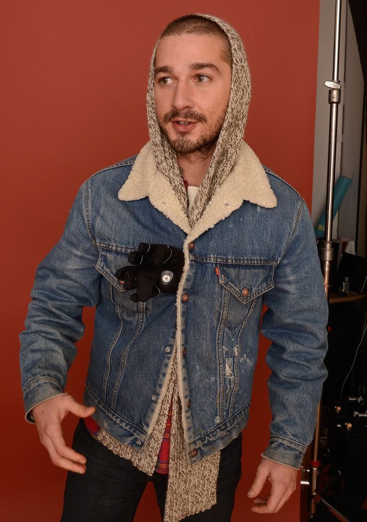 fd913f1de453e3 Shia LaBeouf Denim Jacket - Shia LaBeouf looked rugged in his fur-lined  denim jacket at the 2013 Sundance Film Festival.