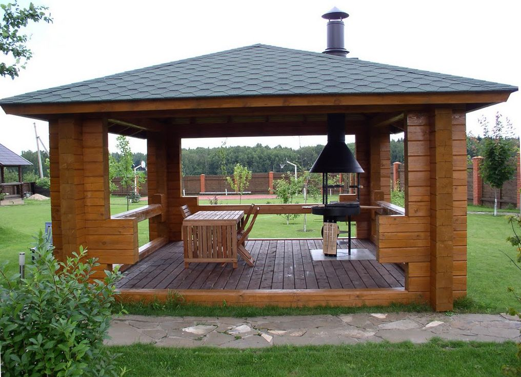 Проекты закрытых беседок с зоной барбекю в саду летние домики с печкой барбекю