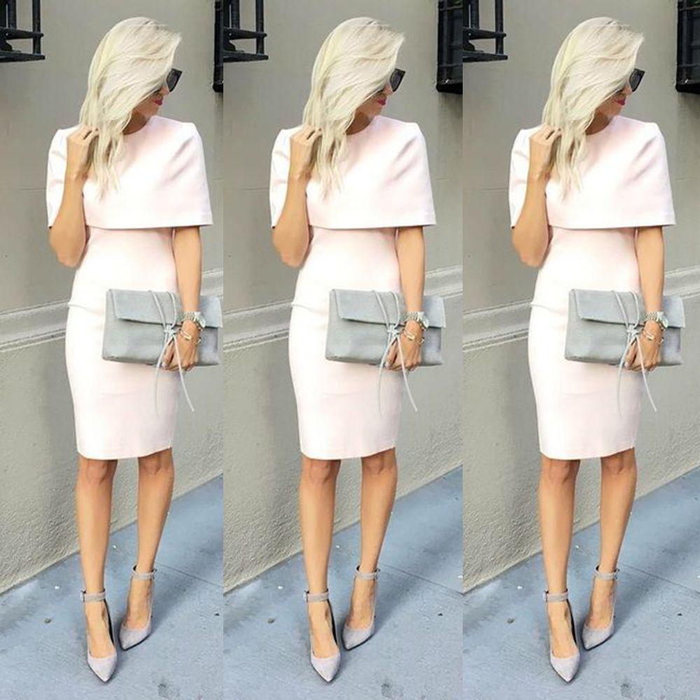 Find a elegant short light pinkpeach evening dresses with wrap knee