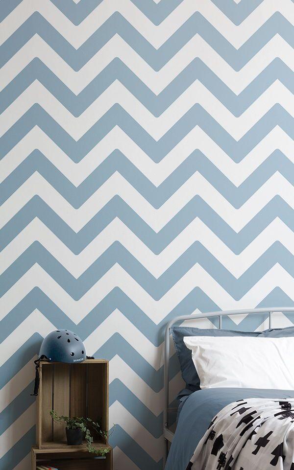 Blue Chevron Wallpaper Zigzag Design Muralswallpaper In 2020 Blue Chevron Wallpaper Chevron Wallpaper Kids Bedroom Decor