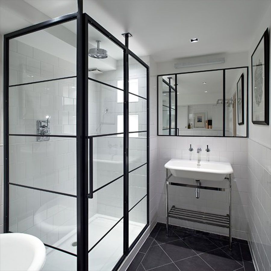 Black and white art deco bathroom - Black Art Deco Framed Shower Enclosure With Pivot Door By Drench