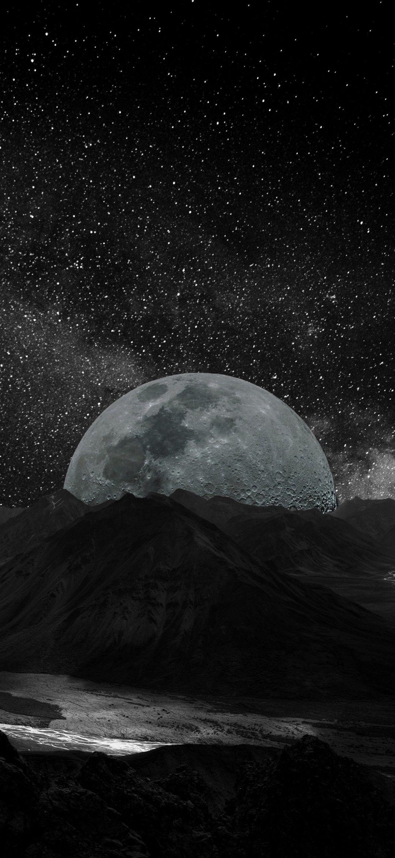 Wallpaper Nuit Noir Lune Etoile Montagne Ciel Photoshop Wallpapers Wallpaper Space Space Phone Wallpaper
