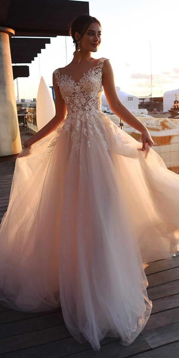 spring wedding dresses a line illusion neckline floral blush nora naviano