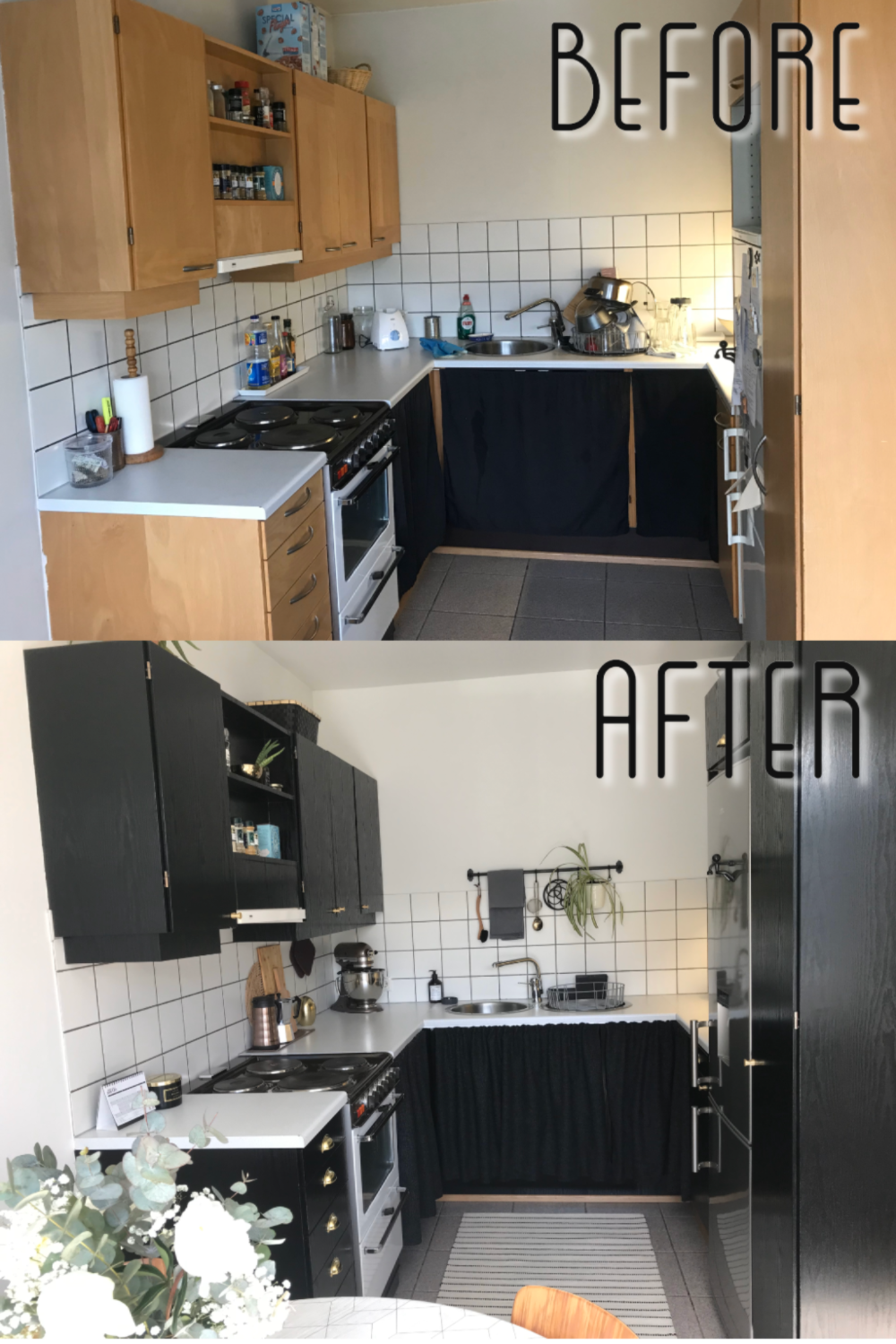 A Small Kitchen Makeover Before After In 2020 Budget Kitchen Remodel Kitchen Wrap Vinyl Wrap Kitchen
