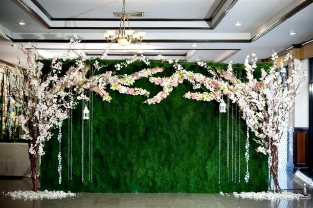 Enchanted Garden Moss Hedge Wall Backdrop With Flowering Tree Centerpieces Decor Wedding Reception Photobooth Ideas