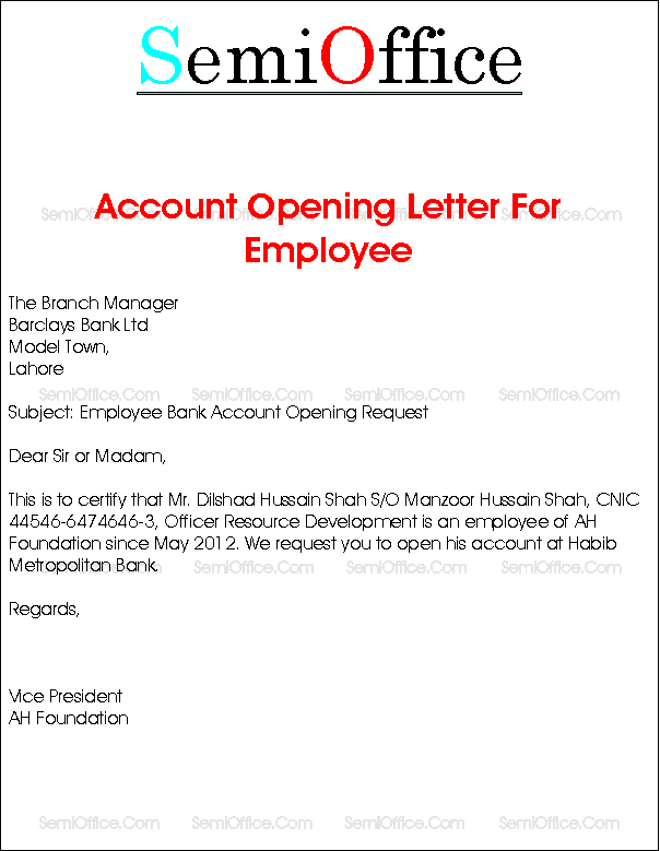 Request letter for salary bank account opening new employees request letter for salary bank account opening new employees authorization format help you writing certificate yadclub Images