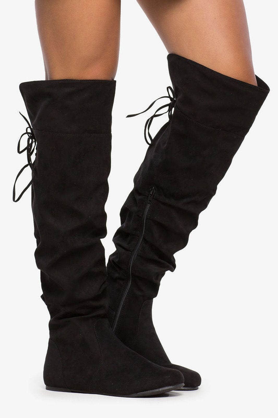 40b73373d9f7 Black Faux Suede Knee High Slouch Boots