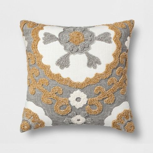Medallion Square Throw Pillow Gray/Gold   Threshold , Adult Unisex