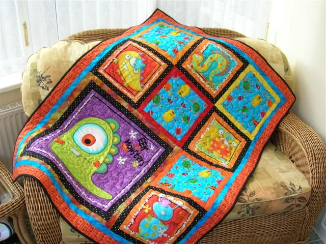 Kiddie Monster Quilt Wish I Could Make This For Stone Little