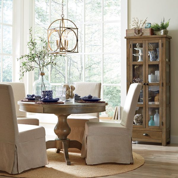 Birch Lane Abington Carston Solid Pine Lighted Display: Seneca Extendable Dining Table
